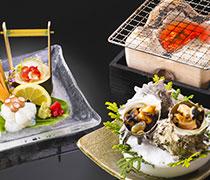 夏の味三昧(サザエのつぼ焼き・赤西貝・岩蛸洗い)